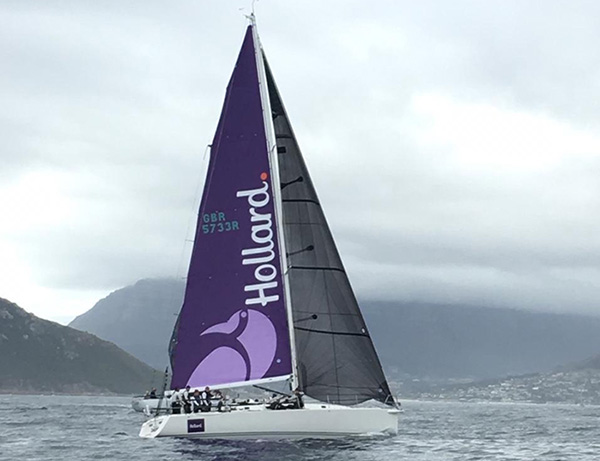 The Hollard Jacana, sailing on a cloudy day with the team onboard.