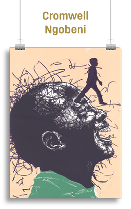 Abstract artwork featuring a boy and a human figure