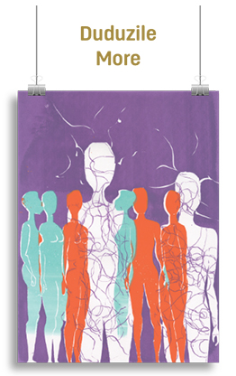 Abstract artwork featuring 8 human figures