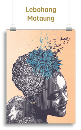 Abstract artwork featuring woman with flowers on her head