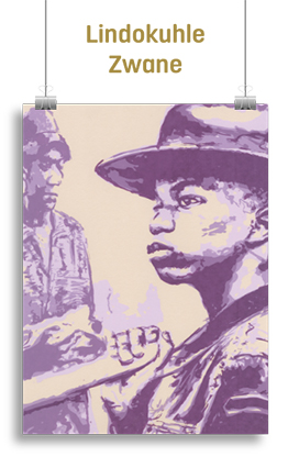 Artwork featuring an African boy in a top-hat holding a pole
