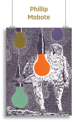 Artwork featuring a bird-of-prey in the background with colourful lightbulbs hanging in the foreground