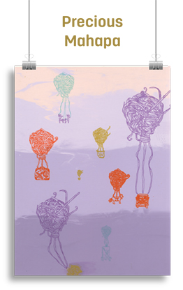 Abstract artwork featuring hot-air-balloon-like objects floating.