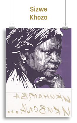 "Artwork featuring a displeased African woman above the words ""Nknhamba Nknbona"""